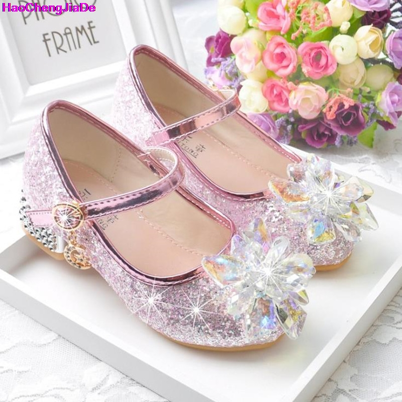 HaoChengJiaDe Flower Children's Shoes Beach Princess Girl Shoes For Kids Glitter Wedding Party Shoes Infantil Chaussure Enfant