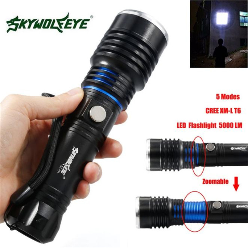 Zoomable 5000LM 5 Modes CREE XM-L T6 LED High Power Flashlight 18650 Torch Lamp Focus NOJ06 outdoor 2 4g frequency wireless remote control small fish board electric skateboard motorized hub adult scooter one motor new