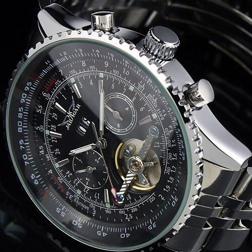 JARAGAR D'or Lunette Grand Cadran Tourbillon Conception montres homme Marque De Luxe acier inoxydable Automatique Mécanique montre-bracelet avec
