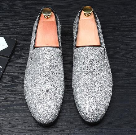 europe bling flat leather shoes rhinestone fashion mens