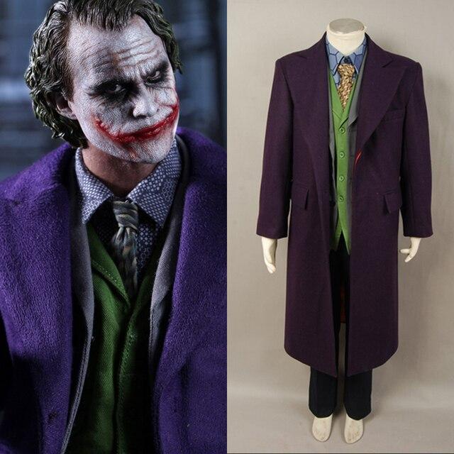 6pcs Adult Men Batman Dark Knight Joker Costume Heath Ledger Joker Cosplay  Costume Trench Coat+