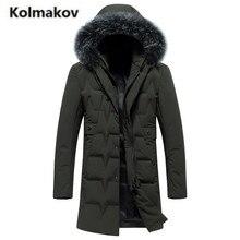 KOLMAKOV 2017 new winter high quality men's fashion long hooded fur collar down jacket,80% gray duck down coats parkas men.M-3XL