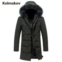KOLMAKOV 2017 nowe zimowe wysokiej jakości moda męska z kapturem futrzanym kołnierzem w dół kurtki, 80% szary puch kaczy płaszcze parki mężczyźni. M-3XL