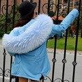 2016 Nova Lady Parkas Jaqueta Feminina Verdadeiro Grande Pele De Guaxinim Casaco de Inverno Mulheres Jacket Coats Collar Engrosse Algodão Acolchoado Quente
