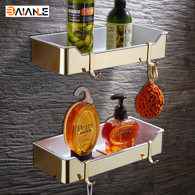 Wall Mount Stainless Steel + ABS Plastic Gold Bathroom Shelves Brushed Nickel Rectangle Shower Caddy Rack Bath Accessories
