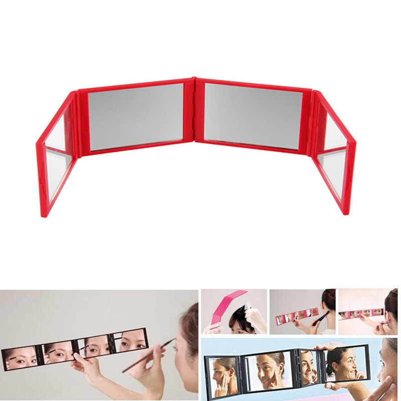 Foldable Makeup Mirror Pocket Red 4 Folds Panel Expandable Mirrors Four Sides Mirror Eyelash Extension Makeup Beauty Tool Travel