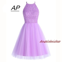 ANGELSBRIDEP Short Lilac Homecoming Dresses 2020 Mini Beading Homecoming Dress Open Back Short Graduation Dresses Party Gowns