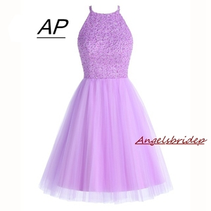 Image 1 - ANGELSBRIDEP Short Lilac Homecoming Dresses 2020 Mini Beading Homecoming Dress Open Back Short Graduation Dresses Party Gowns
