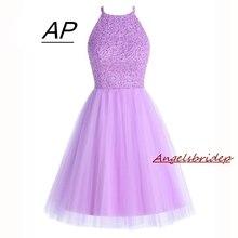 ANGELSBRIDEP robes de retour lilas courtes 2020 Mini perles robe de retour dos ouvert robes de remise des diplômes robes de soirée