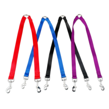 2 Way Pet Dog Nylon Coupler Leash No-Tangle Walking Double Lead Leashes For Two Small Dogs Black Red Blue Purple Colors