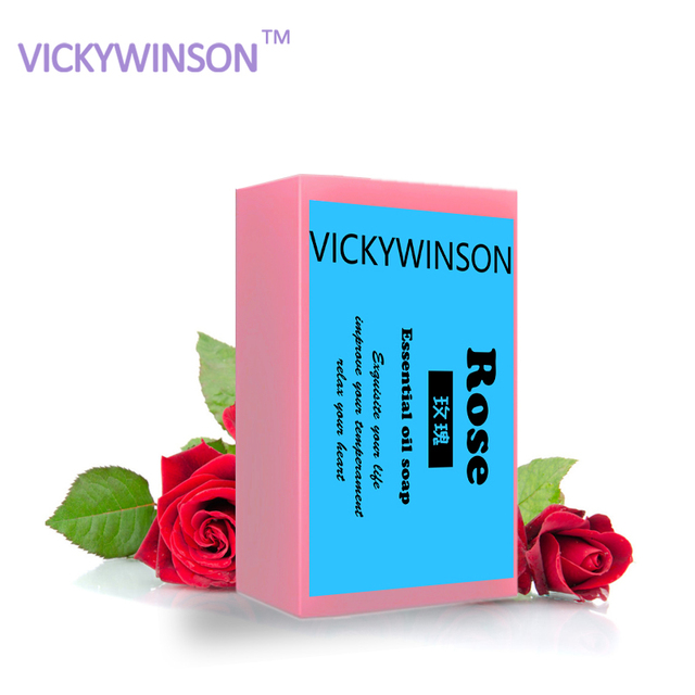 VICKYWINSON Rose Oil Handmade Soap Skin Whitening Soap Blackhead Remover Acne Treatment Face Wash Hair Care Bath Skin Care XZ5