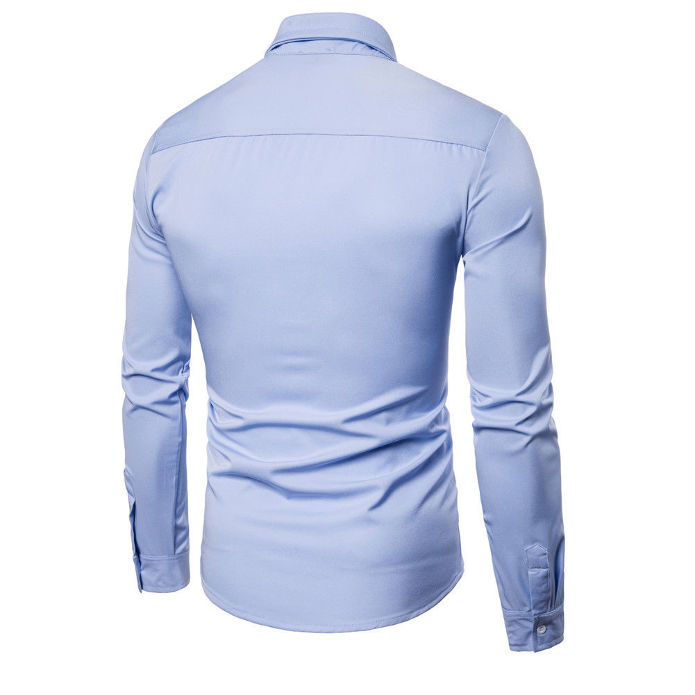 c3b1d43b9cf 2018 Latest Style Men s Luxury Stylish Business Casual Dress Suits Slim Fit  Shirts Long Sleeve Solid Tops-in Casual Shirts from Men s Clothing on ...