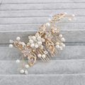 Gold Plant Pearl Hair Combs For Women Statement Bridal Hair Comb Leaves Head Wedding Accessories Fashion Jewelry HS-J3350