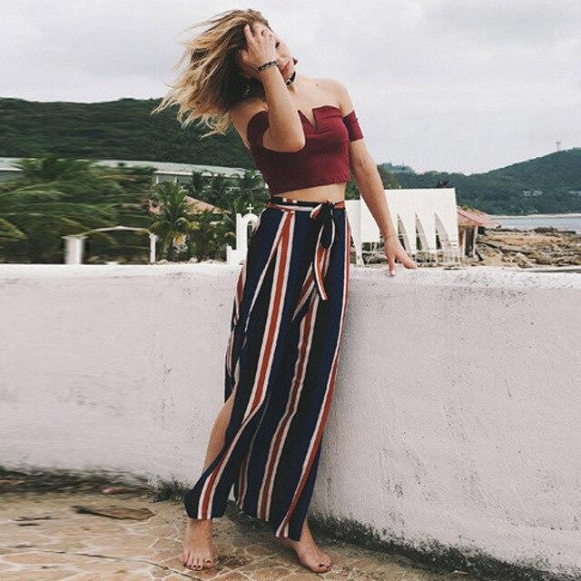 d96410dc7a5c 2018 Summer High Waist Boho Chiffon Wide Leg Pants Women Sexy Split Striped  Beach Ankle-length Trouser Casual Long Culotte Pants