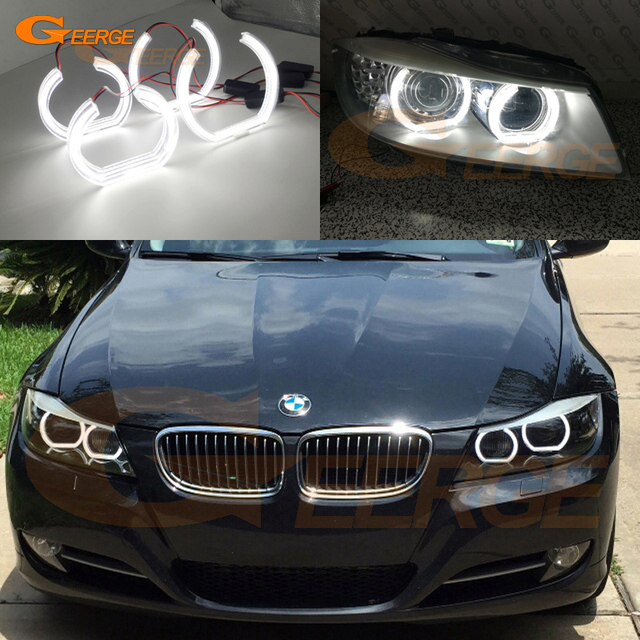 for bmw 3 series e90 e91 2009 2012 xenon headlight excellent dtm style ultra bright led angel. Black Bedroom Furniture Sets. Home Design Ideas