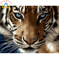 Digital Diy Oil Painting By Numbers Tiger Wall Decor Picture On Canvas Oil Paint Coloring By