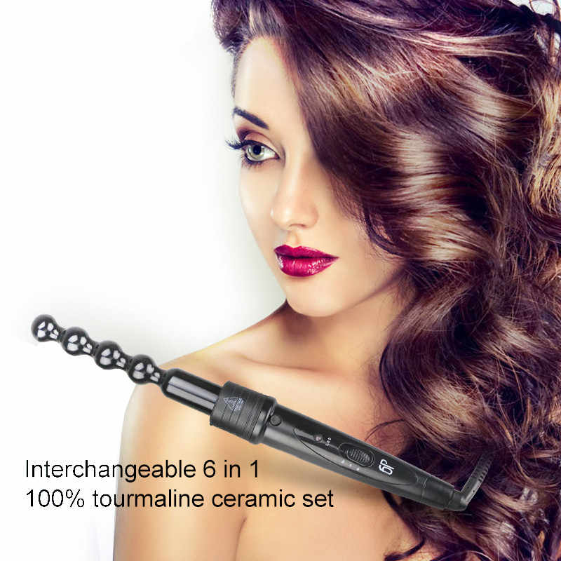6 In 1 Professional Ceramic Curling Iron Interchangeable Hair Curler waver LED display Curling Wand roller With Resistant Glove