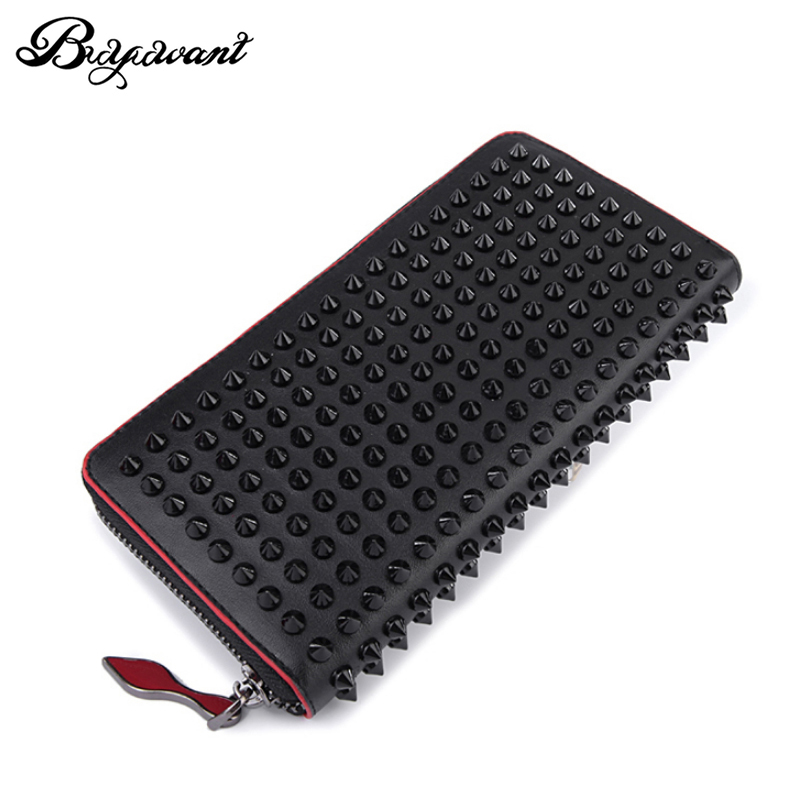 Buyuwant Rock stud Rivet women genuine leather wallet leather purse fashion long wallet clutch bag women's handbags GN-WL-flszcd