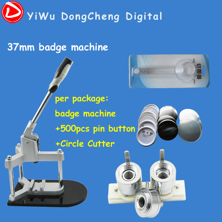 Free Shipping Badge Button Machine Package 1.1/2(37mm) Badge Machine with 500set Button +Circle Cutter free shipping new pro 1 1 4 32mm badge button maker machine adjustable circle cutter 500 sets pinback button supplies