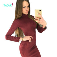 TAOVK Design Russia Style Women S Autumn Suede Dresses Knee Length Long Sleeve Blue Wine Red