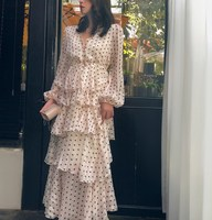 Vintage polka dot cake style ruffled V neck dress bohemian chiffon long beach summer dresses for women long sleeve s43