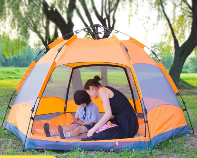 Top Brand Quality Double Layer 3-4/5-8 Persons Rainproof six angle automatic outdoor tent for Hiking Fishing Hunting Adventure