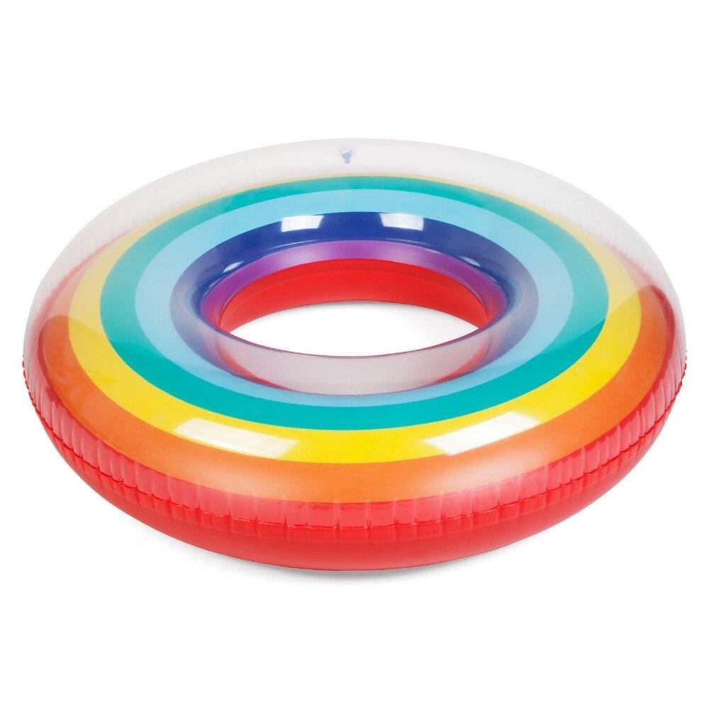 High size Inflatable rainbow swim ring Pool float Inflatable rainbow swim Circle Summer FUN starts women lifebuoy Pool float