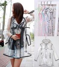 New 2017 Transparent Vinyl Raincoat Runway Style Womens Girls Clear Fashion Rain Coat free shipping