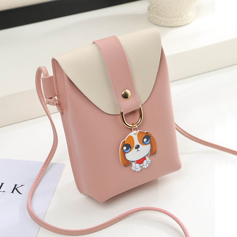 Crossbody Bags For Women 2018 New Cartoon Puppy Korean Style Fashion Girls Mini Pink Shoulder Bag PU Leather Phone Messenger Bag