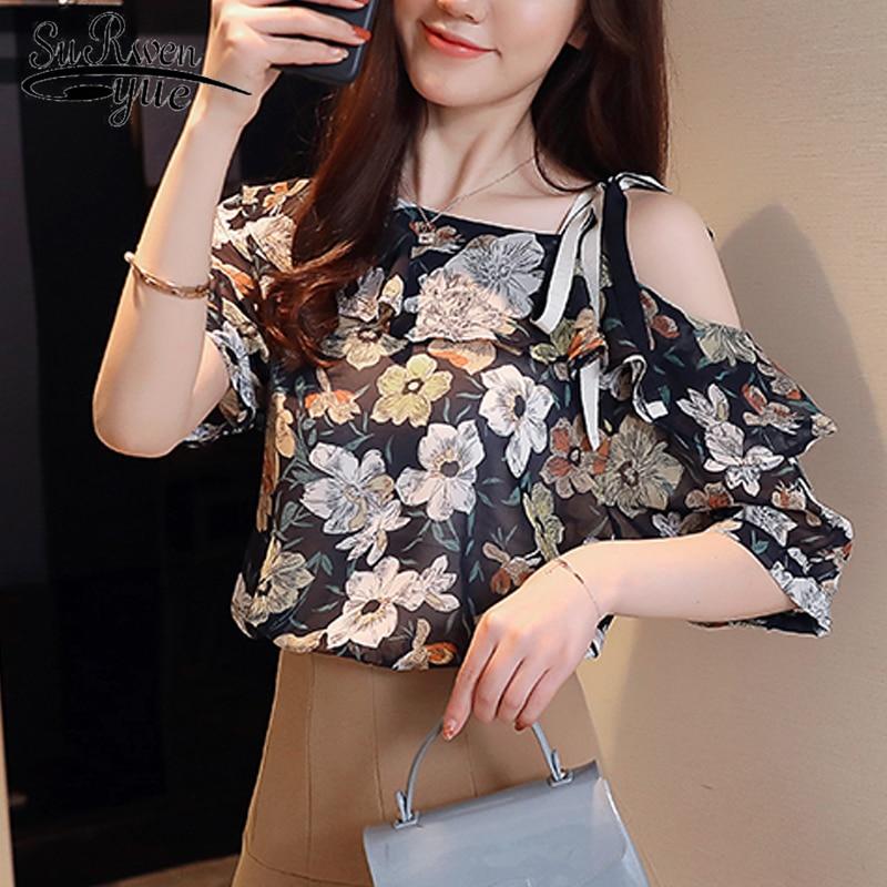 New 2018 short sleeve summer women   blouse     shirt   fashion print chiffon women tops blusas sweet bow sexy women's clothing D815 30