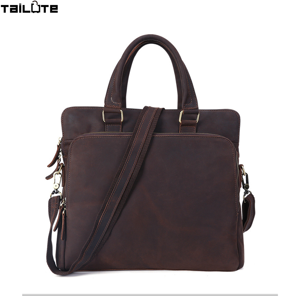 TAILUTE New Fashion Genuine Leather Men Bag Famous Brand Shoulder Bag Messenger Bags Causal Handbag Laptop Briefcase Male european and american fashion black leather zipper man bag design famous manberce brand male shoulder messenger bags