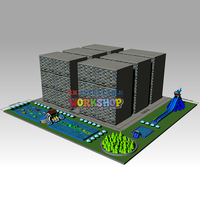 L type inflatable water park  Community City Square Mobile Water Playground