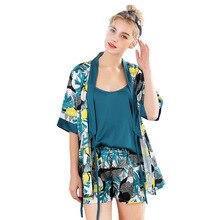 d3f9c26fed 2019 New 3 PCS Women Pajamas Sets with Pants Sexy Pyjama Satin Flower Print Nightwear  Silk