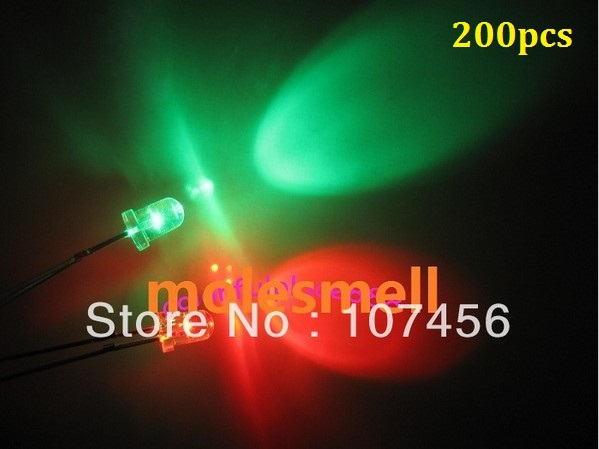 200pcs 5mm flashing red/green flash led LED 5mm blinking red/green led 5mm round water clear Bi-Color Flash red/green led lamp