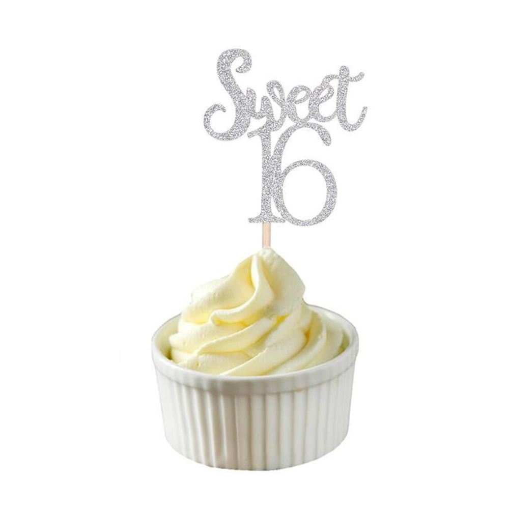 Image 3 - 10pc Gold & Silver & Blue Sweet 16 Cake Topper Letter Cupcake Toppers 16th Happy Birthday Party Cake Decoration Christmas 2019,Q-in Party DIY Decorations from Home & Garden