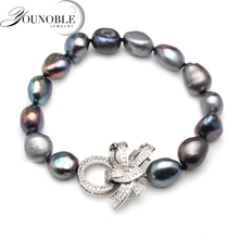 Real freshwater pearl bracelet for women,beautiful gift big black