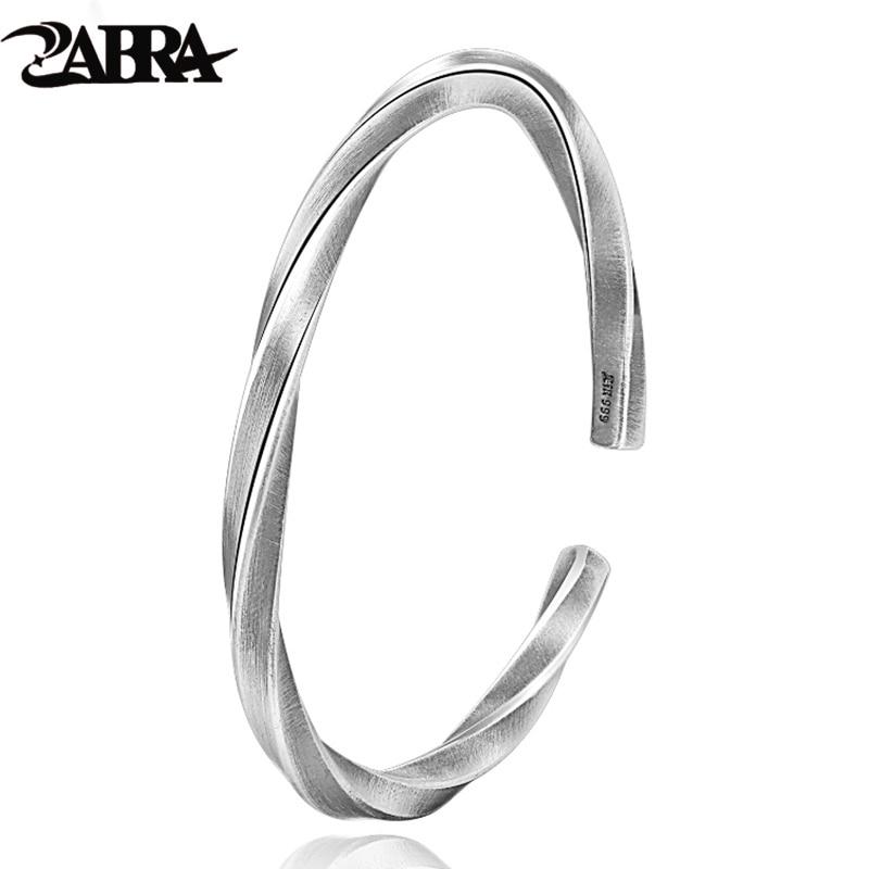 ZABRA 925 Silver Bangle Men Vintage Punk Rock Sterling Silver Bangles For Women Open Bracelets Bangles