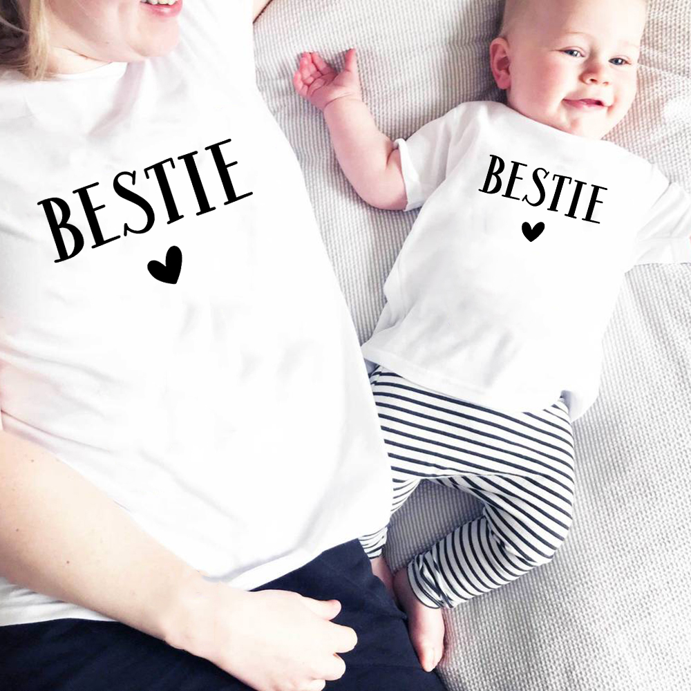 Besties Heart Family Matching Shirt Family Outfit Clothes Summer Short Sleeve Casual T Shirt Mother And Daughter Son Tee Shirt