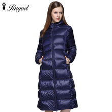 RUGOD Fashion Solid Women Winter Coat With Hat Stand Collar Zipper Long Female Jacket Thick Slim Manteau Femme Hiver