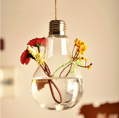 AliExpress & US $11.0 |New Fashionable Design Light Bulb Shape Creative Hydroponic Flower Vase Glass Bottle with Hanging String Home Decor Gift F1023-in Flower ...