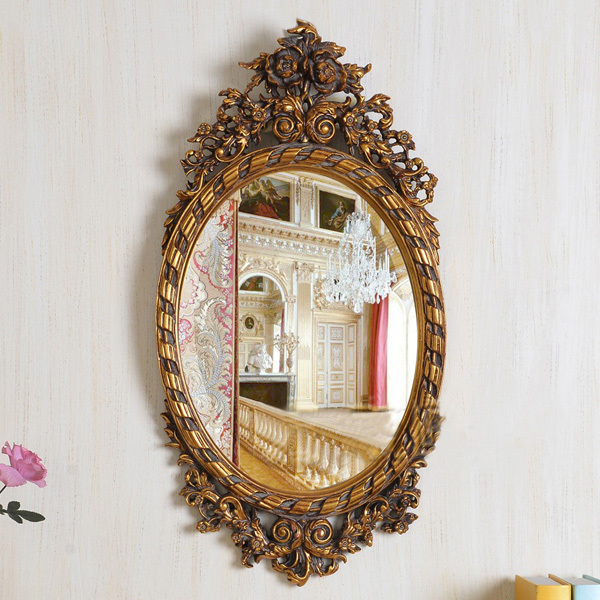 European Refined Carving Oval Mirror Antique Frame Luxury ...
