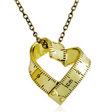 Romantic Metal Love Heart Ruler Necklace & Pendants Charm Vintage Necklaces For Lovers Women Men Fashion Jewelry
