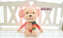 small cute scraf monkey toy plush monkey doll pink monkey toy gift about 30cm