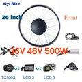 36 в 48 в 500 Вт 26 дюймов DC велосипедный двигатель электрический бесщеточный контроллер переднее моторное колесо электромобиль ЖК-дисплей диск...