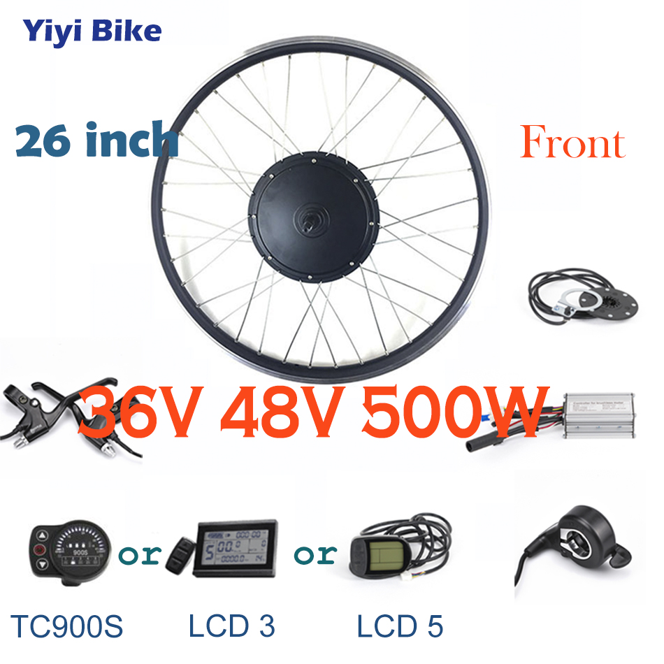 36V 48V 500W 26 inch Front Motor Wheel bicicleta electrica DC Motor Brushless Controller Electric Vehicle LCD Display disc Brake