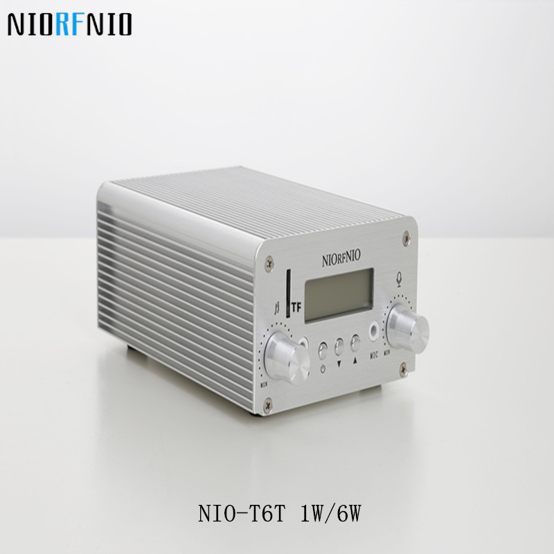 Free Shipping NIO-T6T 6W Transmissor FM PLL Stereo TF Card Maximum Supported 128G free shipping nio t6t 1w 6w stereo audio fm amplifier kit professional transmitter with tf card