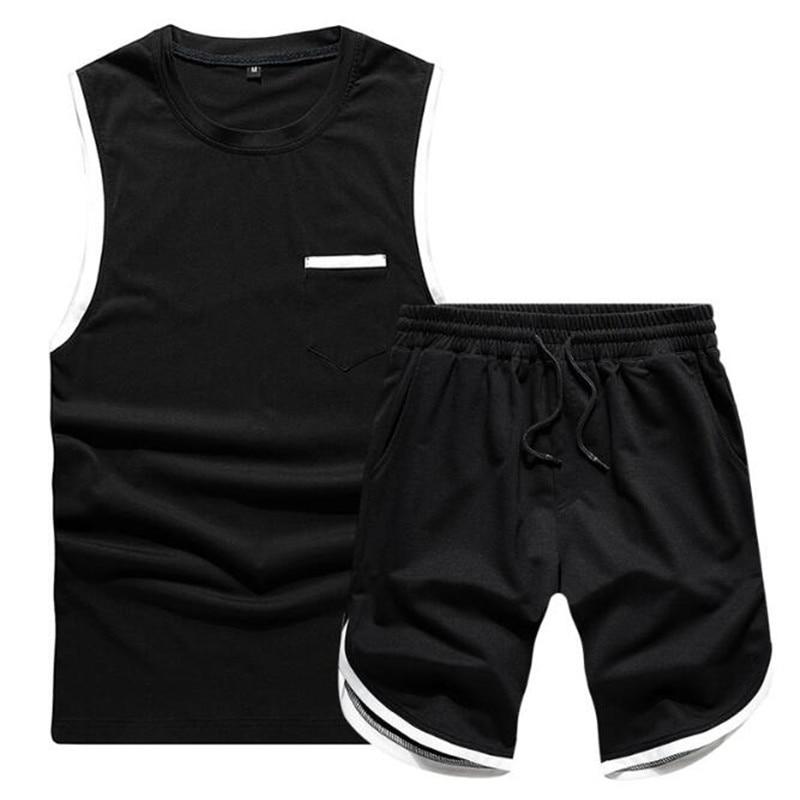 Sleeveless Men's Sportswear Summer New Men Tracksuit Two Piece Short TShirt+Shorts Sets Casual Male Sweatshirt Sportswear Suit