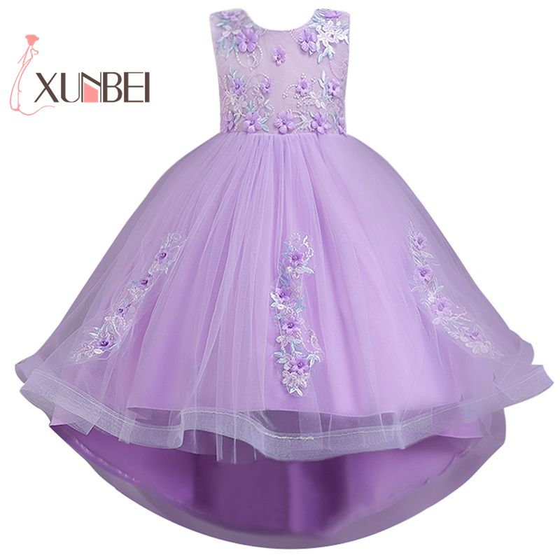 High-Low   Flower     Girl     Dresses   Tulle 2019 Lace-up Appliqued Pageant   Dresses   For   Girls   First Communion   Dresses   Kids Prom   Dresses
