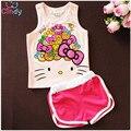 Girls Summer Casual Clothes Set Children Cartoon T-shirt + Short Pants Sport Suits 2017 Toddler Girl Clothing Sets for Kids