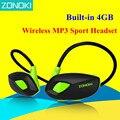 Zonoki M5 Sem Fio MP3 Esporte Fone De Ouvido de Moda MP3 Player Fone De Ouvido Embutido 4 GB de Memória Cartão Biking Correndo Fone de Ouvido